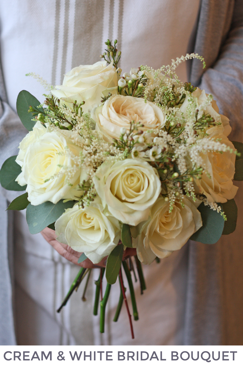 Cream white bridal bouquet