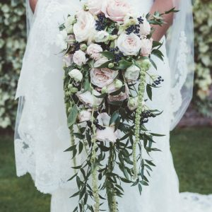 Amazing shower trailing bouquet nude pink green by Passion for Flowers