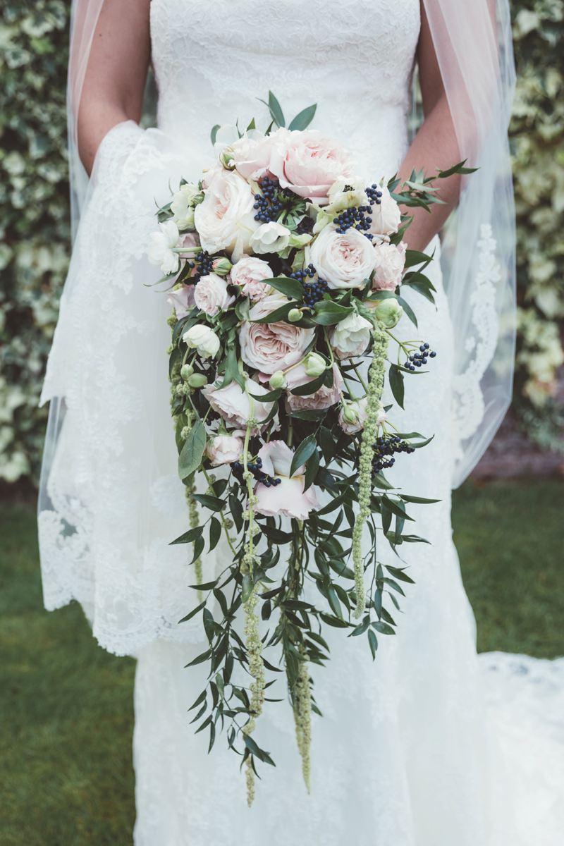 Iscoyd Park Wedding Flowers Trailing Bridal Bouquet Flower Wall