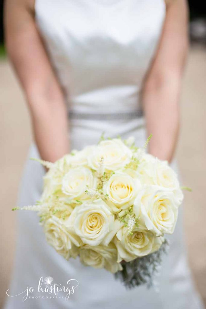 Cream rose astilbe dusty miller bridal bouquet Passion for Flowers