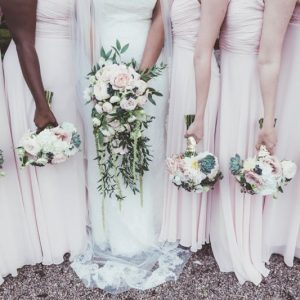 Elegant bouquets succulents nude roses for bridesmaids trailing shower boouquet bride by Passion for Flowers blush pink dresses