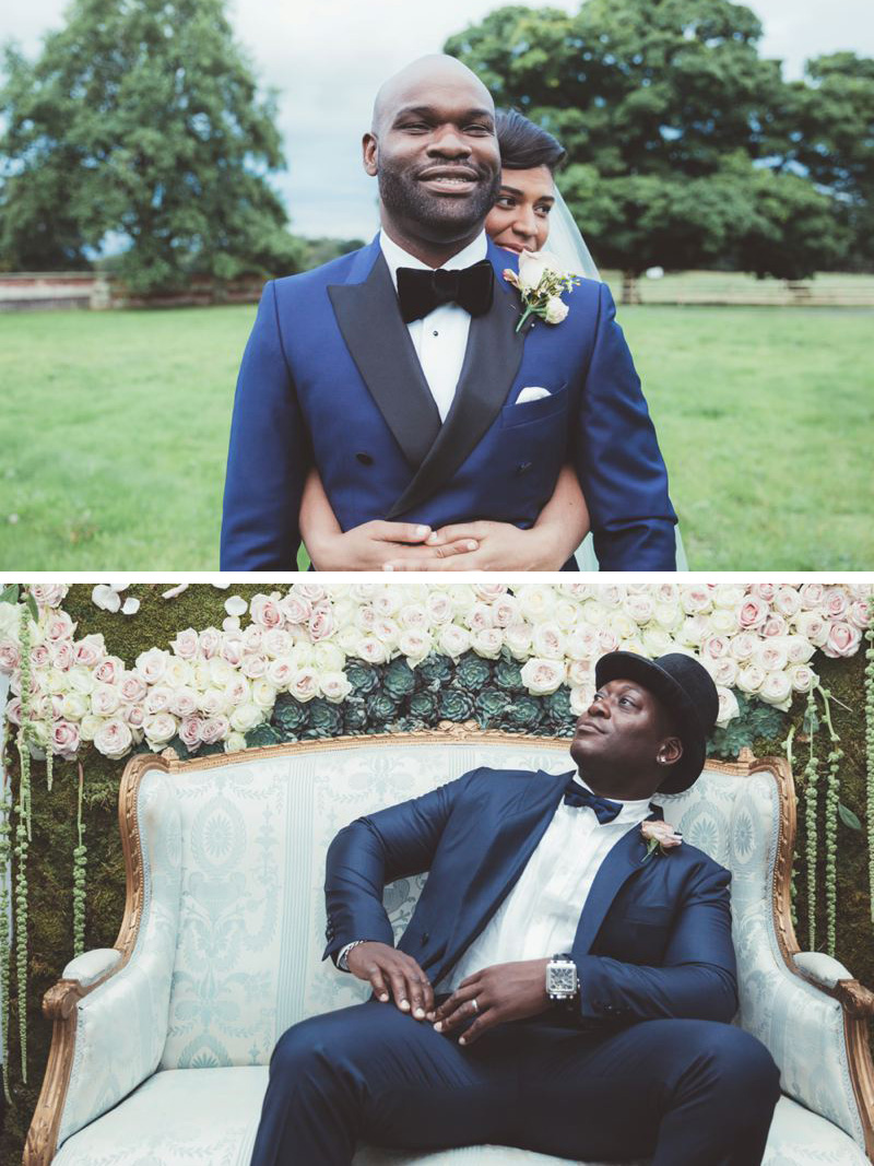 Navy blue grooms suit with black velvet bow tie and hat