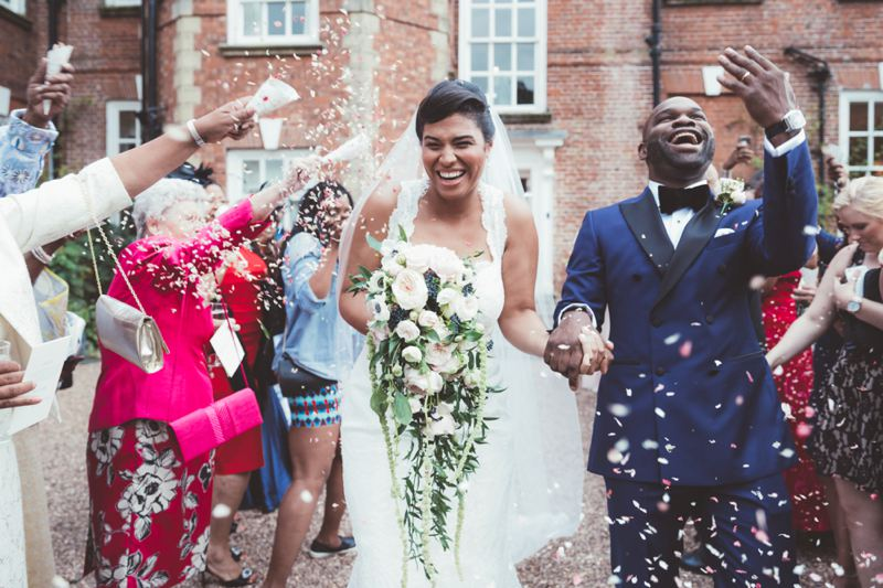 Wedding confetti photography Iscoyd Park