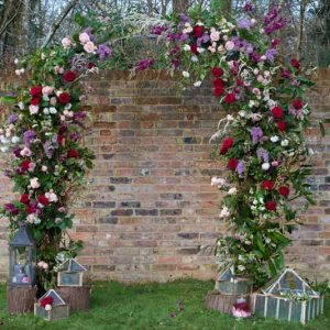 Large flower arch for wedding ceremonies full of flowers Passion for Flowers west midlands warwickshire