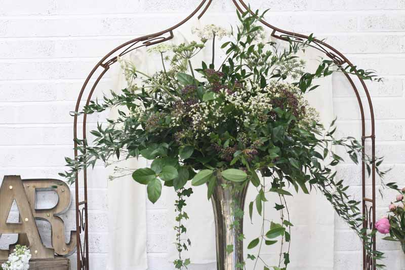 Extra Large Tall Silver Vase Weddng Centrepiece NAtural Foliage made at Passion for Flowers 1-2-1 flower class (1)