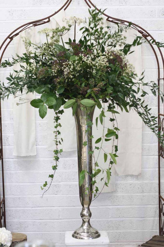 Extra Large Tall Silver Vase Weddng Centrepiece NAtural Foliage made at Passion for Flowers 1-2-1 flower class (5)