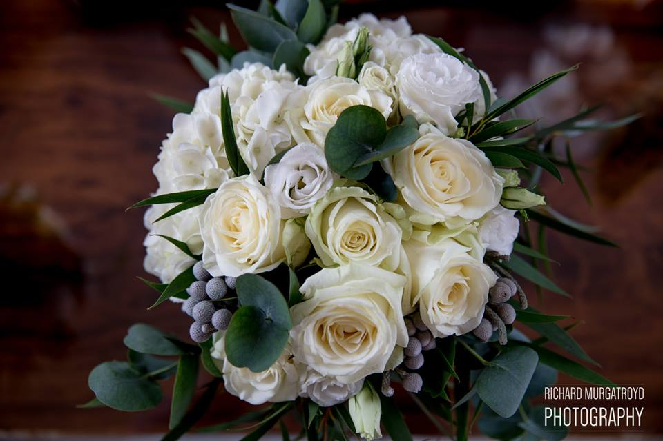 Green white and grey bride bouquets natural style Passion for Flowers