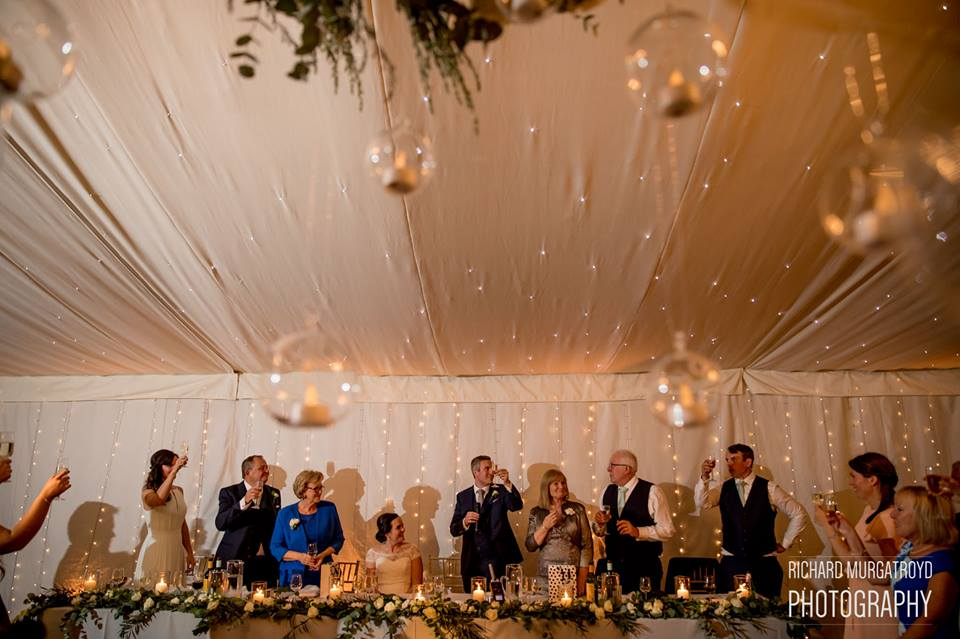 Top Table Foliage Lanterns Candles Iscoyd Park Marquee wedding