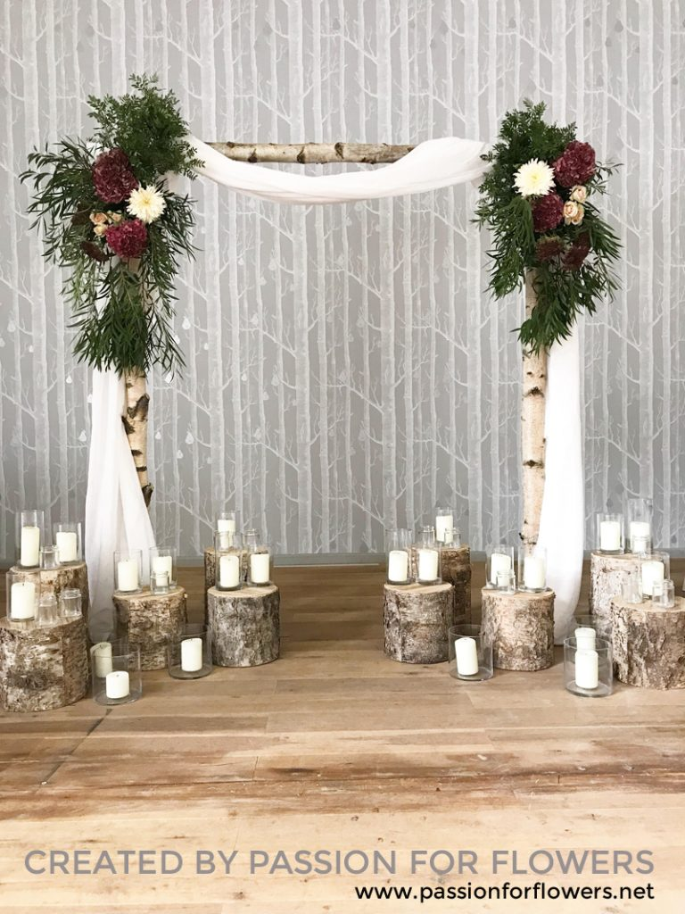 birch wedding arch for hire Passion for Flowers