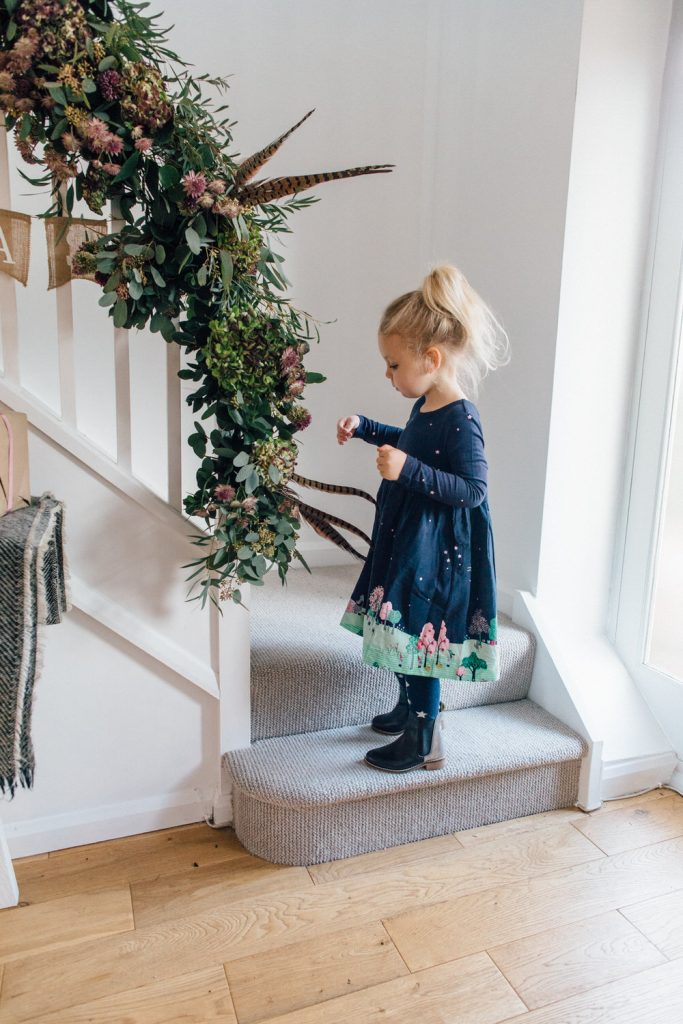 Christmas home styling staircase garlands