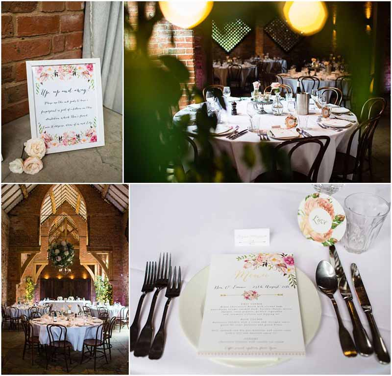 Elegant barn wedding centrepieces Shustoke Farm Barns