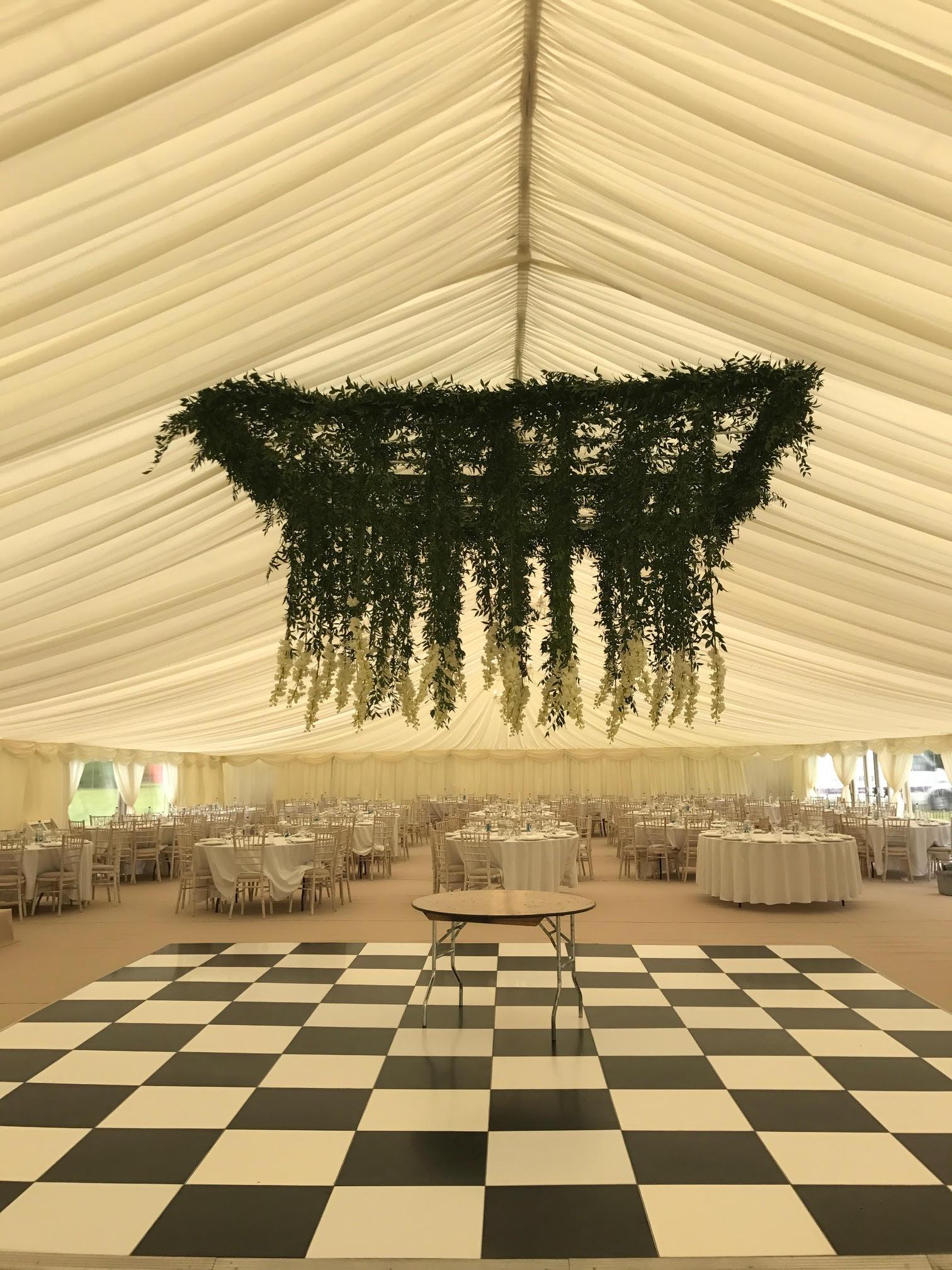 Hanging flower ceiling over dancefloor marquee delphiniums (2)