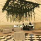 Hanging flower ceiling over dancefloor marquee delphiniums (1)