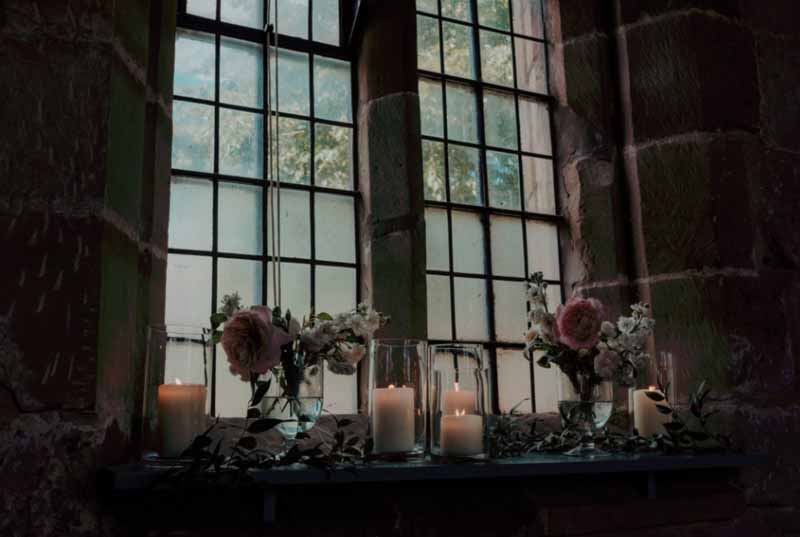 Church window sills wedding lanterns flowers Passion for Flowers