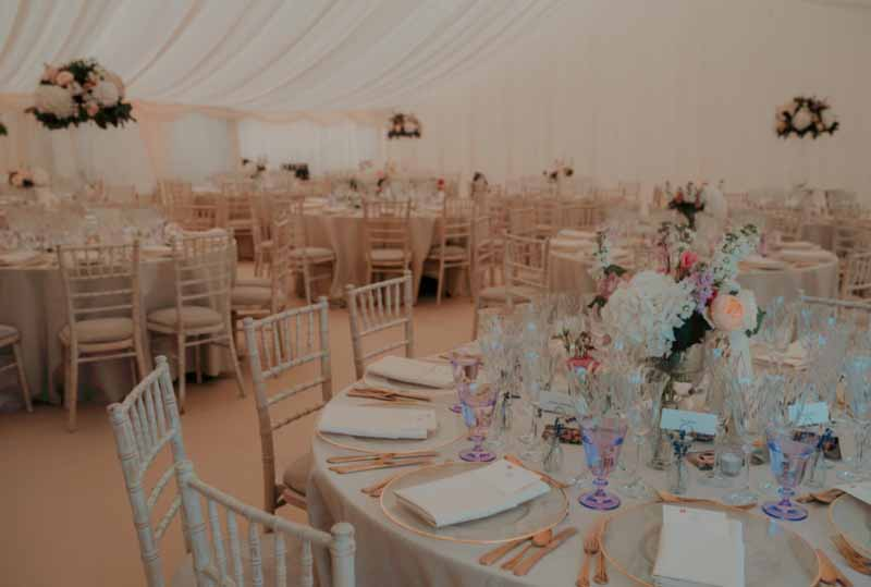 Marquee wedding flowers Priory Farm Passion for Flowers