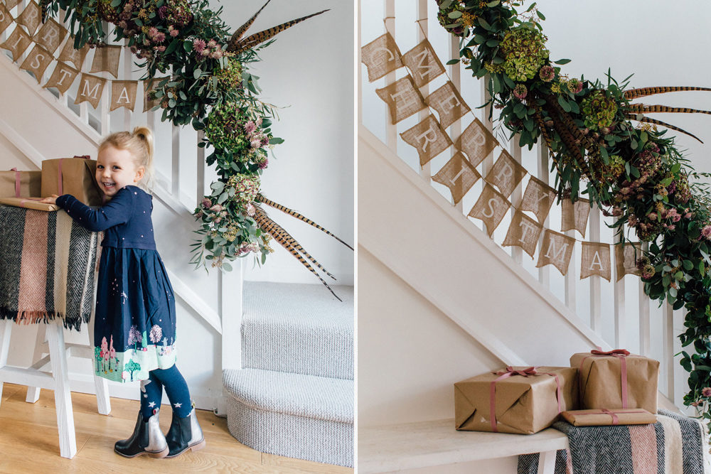 christmas staircase garland of flowers Passion for Flowers The White Company Joules 2