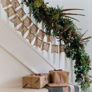 christmas staircase garland of flowers Passion for Flowers The White Company Joules 23