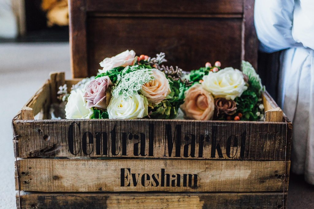 Wedding bouquets in wooden crate Hampton Manor