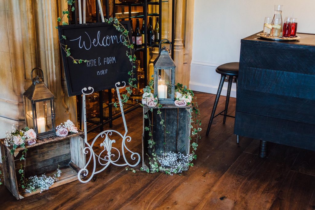Blackboard welcome sign and entrance display at Hampton Manor Passion for Flowers