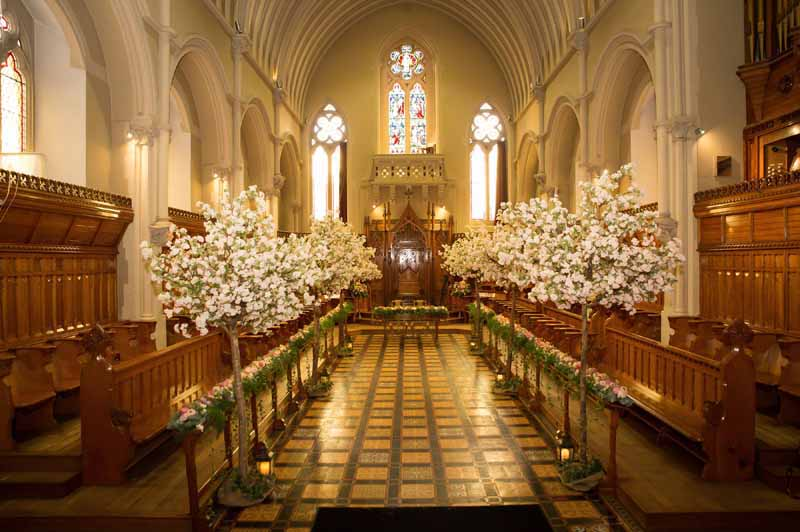 Epic Wedding Ceremony Decorations Trees Metres Of Flowers Length The Church Stanbrook Abbey By