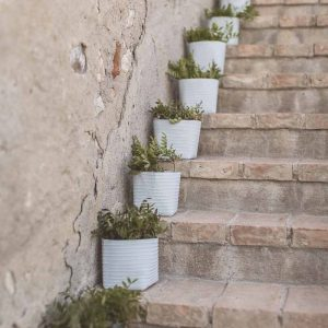 Staircase flowers foliage outdoor wedding tuscany italy