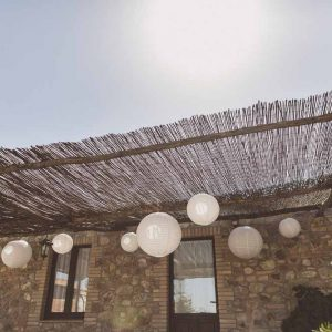 Hanging white paper lanterns outdoor wedding decorations
