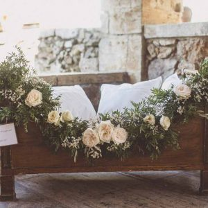 flower girl cot wedding ceremony floral garland Tuscany Italy