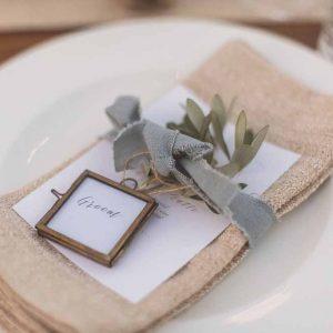 Olive leaf place settings menu dusky blue ribbon