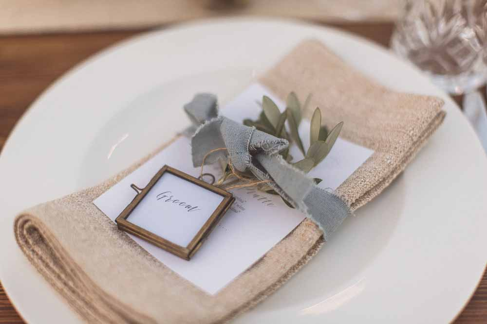 Olive leaf place settings menu dusky blue ribbon