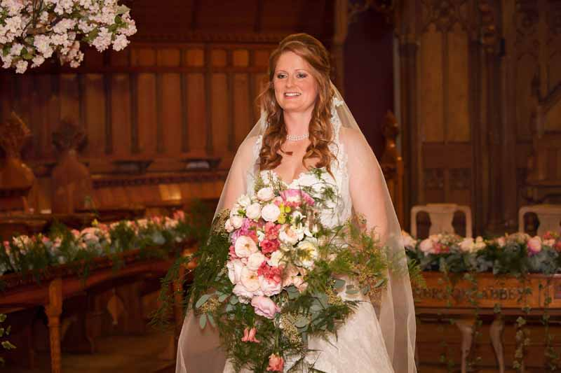 Giant large bridal bouquet pink green foliage wild trailing Passion for Flowers Stanbrook Abbey