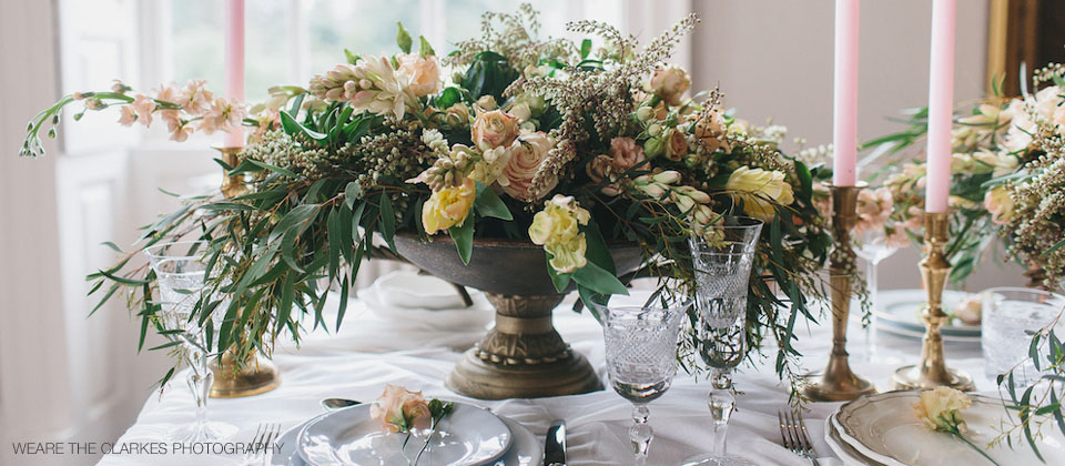 Low organic style wedding centrepiece Passion for Flowers