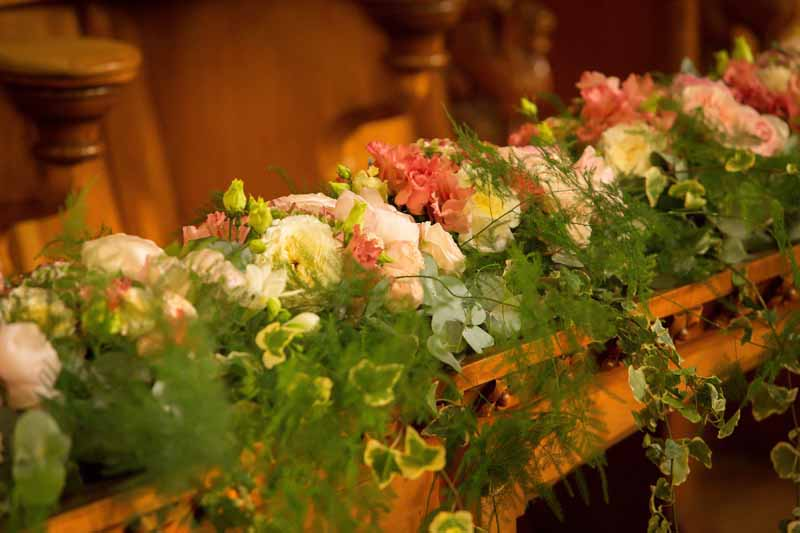 Luxury flowers in wooden crates Stanbrook Abbey wedding