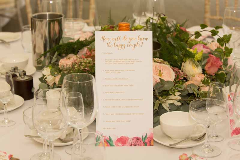 Marquee wedding centrepieces