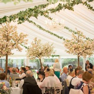 Marquee wedding decoration by Passion for Flowers ivy from ceiling tree within marquee