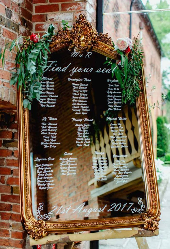 Mirror Table Plan foliage garland Shustoke Farm Barns