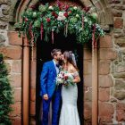 Organic style floral church arch pink and green Passion for Flowers