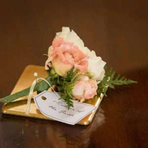 Peach dusky pink ladies corsage wedding