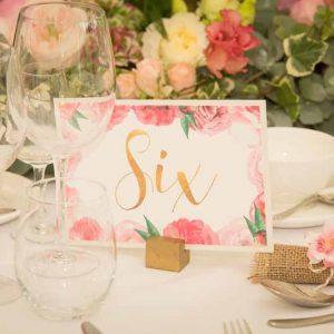 Pink floral wedding table numbers