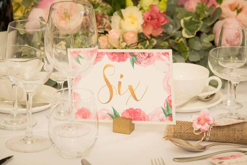 Pink floral wedding table numbers