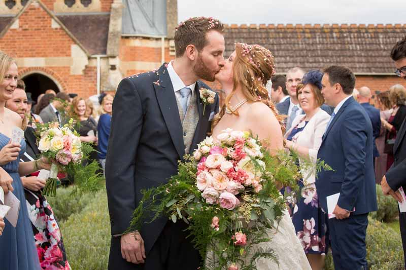 Pink peach giant wild foliage wedding bouquet Stanbrook Abbey by Passion for Flowers