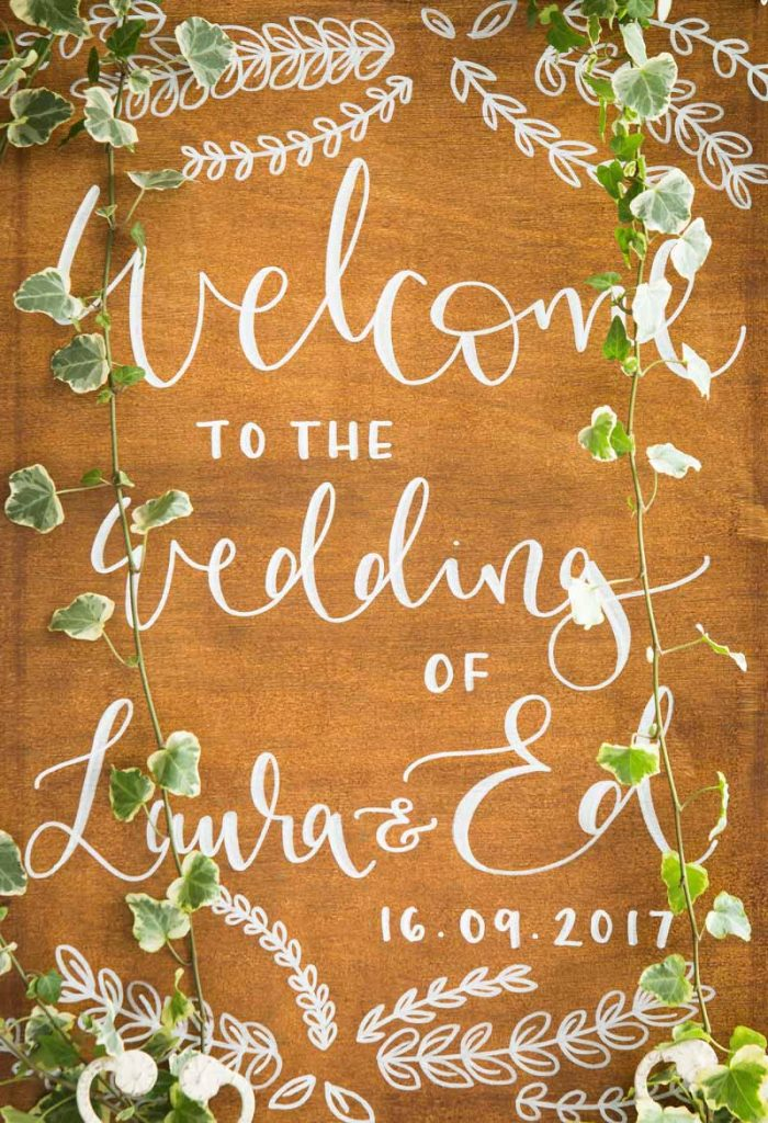 Welcome wedding sign Laura Ed Stanbrook Abbey