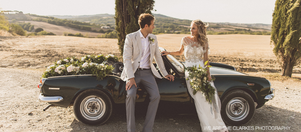 wedding car flower garland Italy Tuscany Passion for Flowers