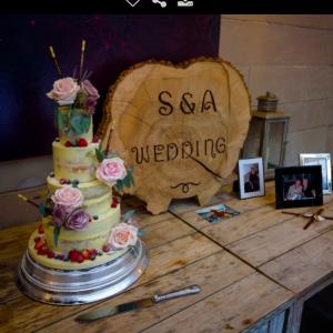 Ben the cake man wedding cake with chopsticks - wedding cake table ideas