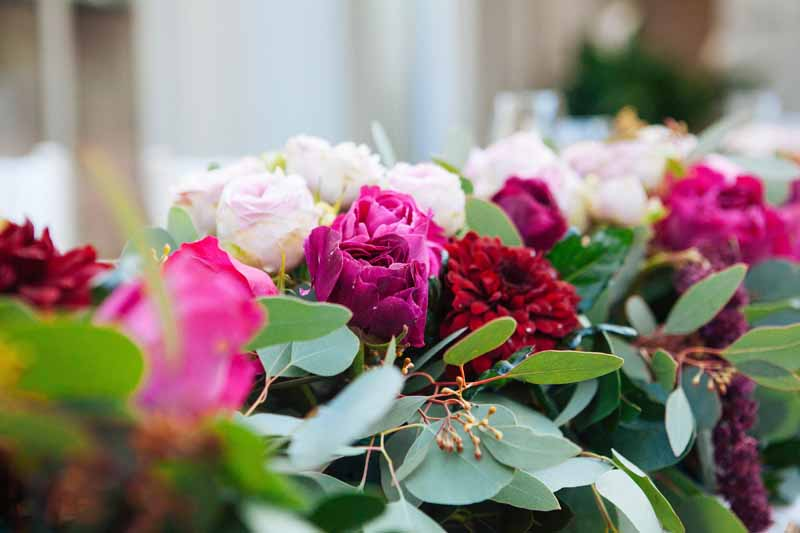 Deep pink roses wedding