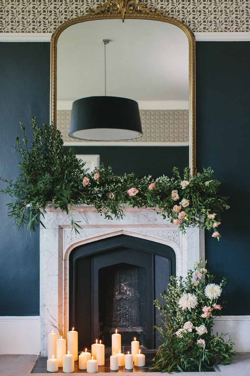 Fireplace decoration flowers and candles Passion for Flowers