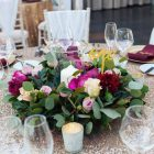 Low centrepiece deep pink Hampton Manor