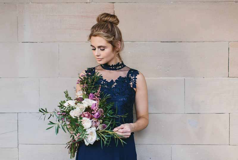 Navy blue bridesmaids dress Coast with deep pink green white bouquet by Passion for Flowers