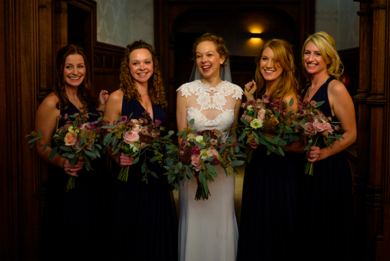 Navy two birds bridesmaids dresses autumn bouquets organic natural style by Passion for Flowers at Hampton Manor
