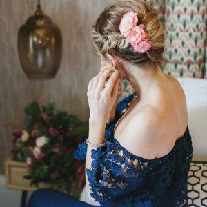 Pink hair flowers bridesmaid wedding navy dress