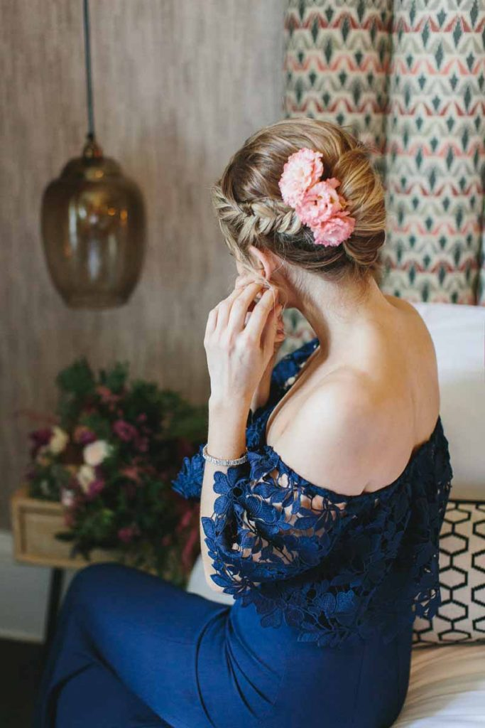 Pink hair flowers bridesmaid wedding navy dress
